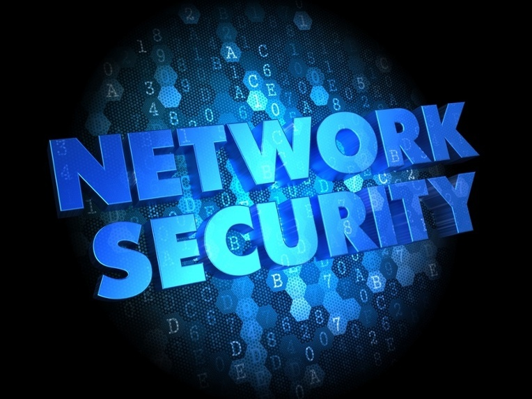 Network Security - Text in Blue Color on Dark Digital Background.